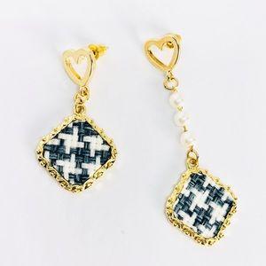 New! Vintage Heart Pearl Drop Woven Earrings Blue